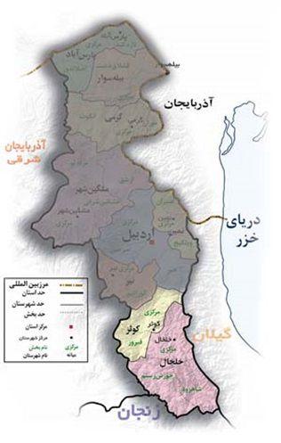 نقشه استان اردبیل